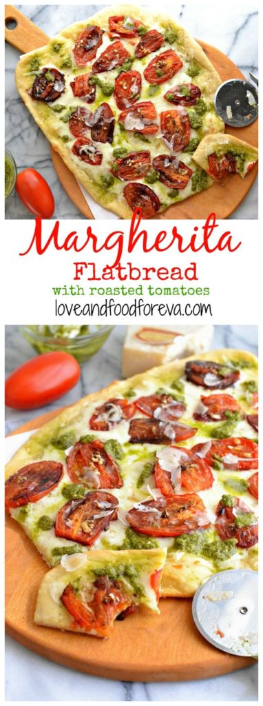 Spice up your usual pizza delivery routine with this simple, yet scrumptious, homemade Margherita Flatbread, complete with roasted tomatoes and pesto sauce!