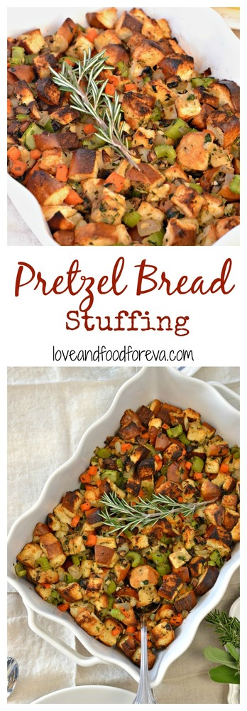Make this classic stuffing for your Thanksgiving table that your whole family will adore, with one easy twist: pretzel bread!
