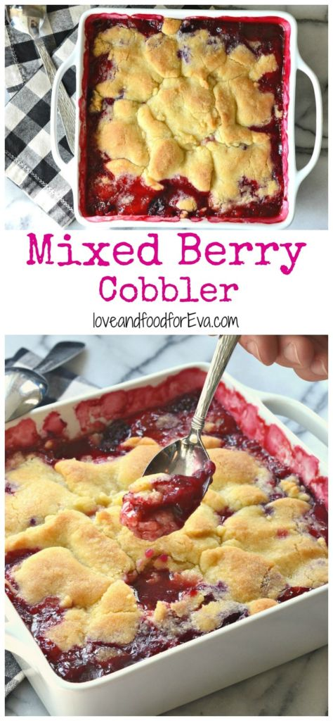 Gear up for a summer get-together with this amazing Mixed Berry Cobbler! Perfect for a hot day, served with vanilla ice cream!!